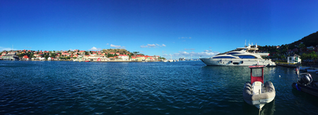speedboats: Gustavia harbor, panoramic view, sailboats, speedboats, St Barth, St. Barts
