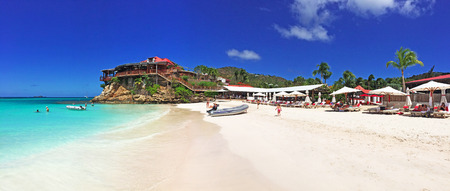 caribbean beach: St Jean beach, panoramic view, St Barth, St. Barts Editorial