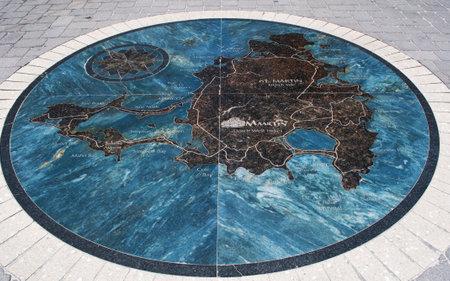 windward: Map, paving, Philipsburg, St Martin, Saint Martin Editorial