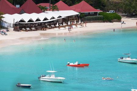 speedboats: St Jean beach, speedboats, St Barth, St. Barts Editorial