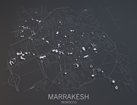 Marrakesh map, satellite view, Morocco