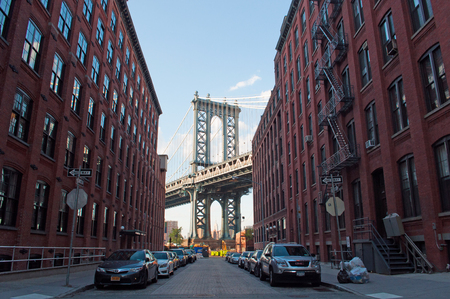 manhattan bridge: New York, USA, an iconic view of Manhattan Bridge from Dumbo neighborhood