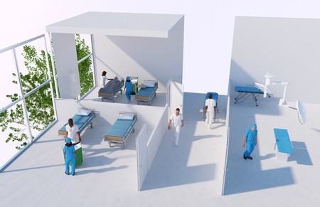 emergency cart: 3D reconstruction of a hospital with nurses, surgeons and rooms Stock Photo