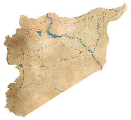 arab spring: Syria map illustration, hand-drawn map. Syria map, physical map, hand drawn, illustrated