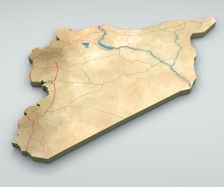 arab spring: Syria map illustration, hand-drawn map, illustrated, 3d