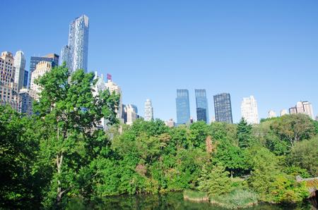 city park skyline: New York City skyline from Central Park, September 14, 2014 Stock Photo