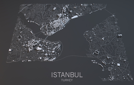 satellite view: Istanbul map, satellite view, Turkey, 3d city