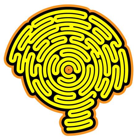 Brain-shaped maze, inside a head in profile, side view Векторная Иллюстрация