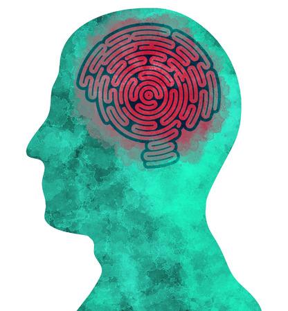 degenerative: Brain-shaped maze, inside a head in profile Stock Photo