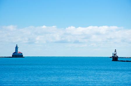 lake michigan lighthouse: Chicago Harbor Lighthouse seen from Navy Pier on September 22, 2014