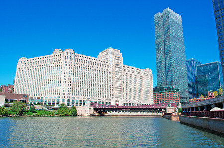 merchandise mart: Chicago: canal cruise on the Chicago River, the skyline and the Merchandise Mart on September 22, 2014 Editorial
