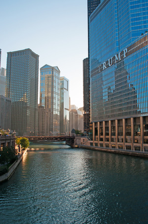 michigan avenue: Trump Tower, Chicago River and Michigan Avenue Bridge on September 22, 2014