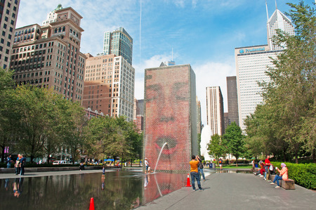 Chicago skyline and Crown Fountain by Jaume Plensa at Millennium Park on September 22, 2014