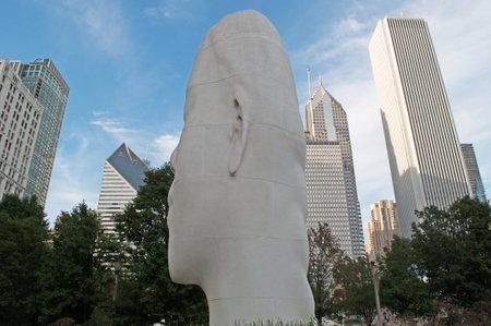 plensa: Chicago skyline and sculpture by Jaume Plensa, Millennium Park, September 23, 2014