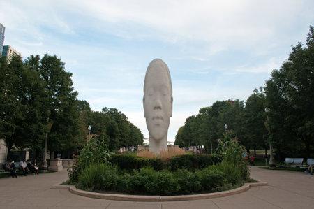 plensa: Chicago: sculpture by Jaume Plensa at Millennium Park on September 23, 2014 Editorial