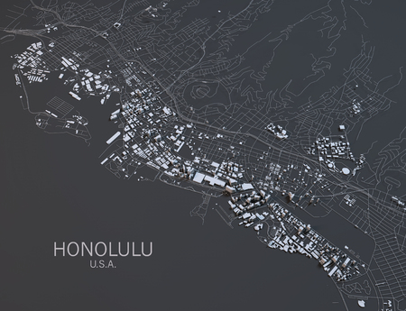 satellite view: Honolulu map, satellite view, United States Stock Photo