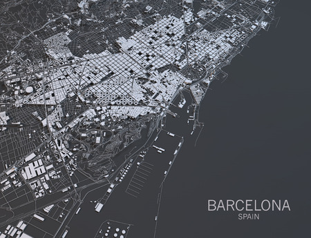 Barcelona map, satellite view, Spain
