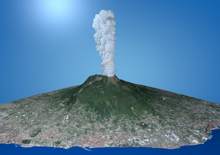satellite view: Satellite view of the volcano Vesuvius, eruption, 3d, Italy Campania Stock Photo