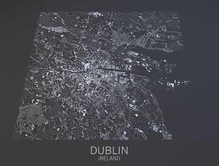 satellite view: Dublin map, satellite view, Ireland Stock Photo