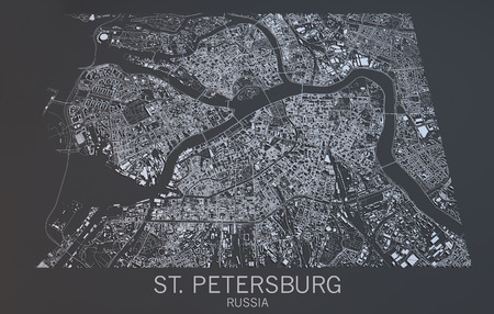 satellite view: St. Petersburg map, satellite view, Russia