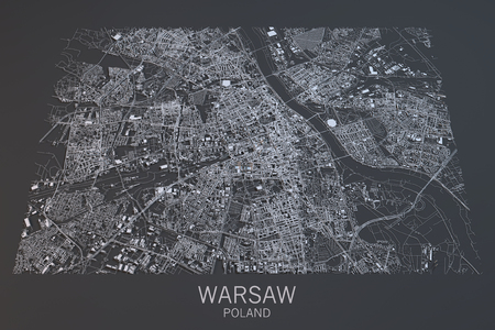 satellite view: Warsaw map, satellite view, city, Poland