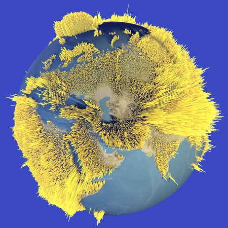 bathymetry: Abstract world globe, map of heights, histograms