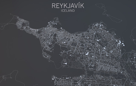 satellite view: Reykjavik satellite view, map Stock Photo
