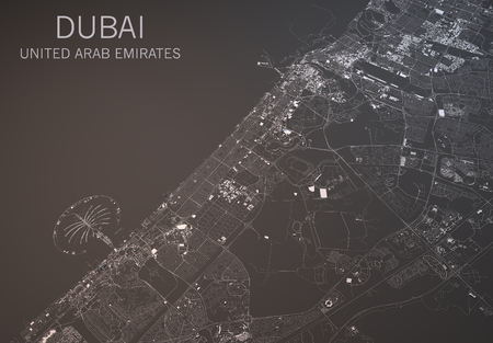 satellite view: Dubai map, satellite view, United Arab Emirates