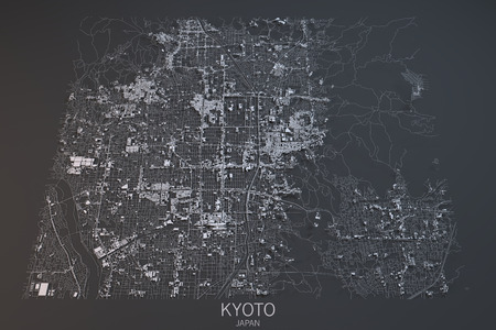 satellite view: Kyoto map, satellite view, Japan