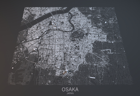 satellite view: Osaka map, satellite view, Japan