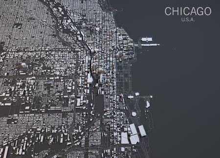 Chicago map, satellite view, United States Archivio Fotografico