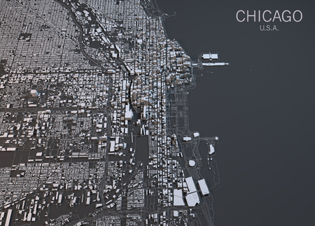 Chicago map, satellite view, United States Banco de Imagens