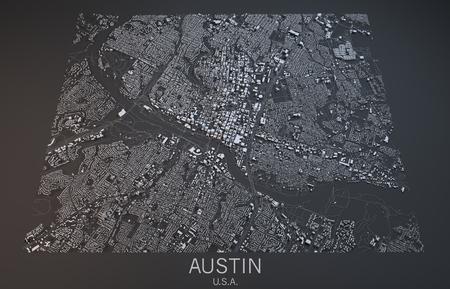austin: Austin map, satellite view, Texas, United States Stock Photo