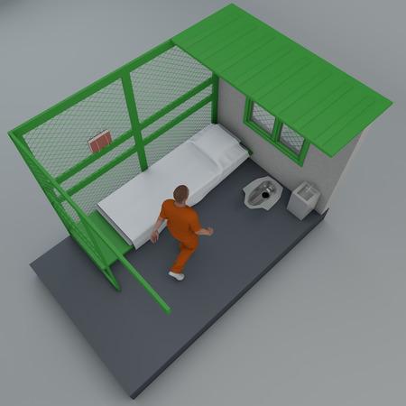 Prison cell in Guantanamo, Cuba, prisoners