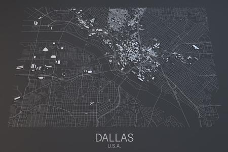 Dallas map, satellite view, Texas, United States