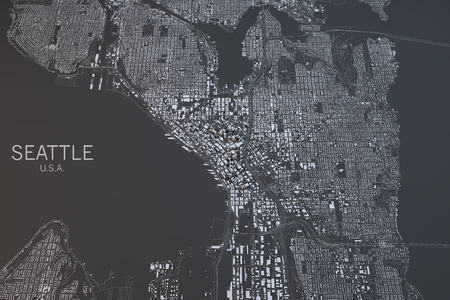 satellite view: Seattle map, satellite view, Washington State, United States Stock Photo