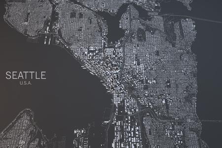 Seattle map, satellite view, Washington State, United States Stock Photo