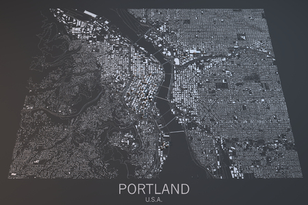 satellite view: Portland map, satellite view, Oregon, United States Stock Photo