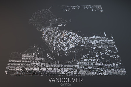 satellite view: Vancouver map, satellite view, Canada