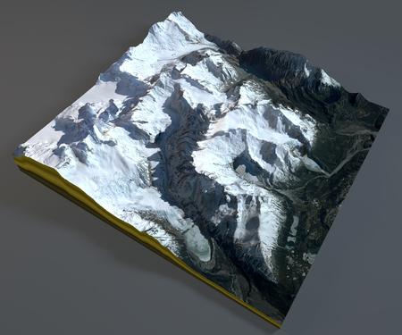 fitz roy: Fitz Roy, satellite view, aerial view, Chile, Argentina Stock Photo
