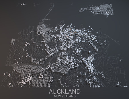 satellite view: Auckland map, satellite view, New Zealand