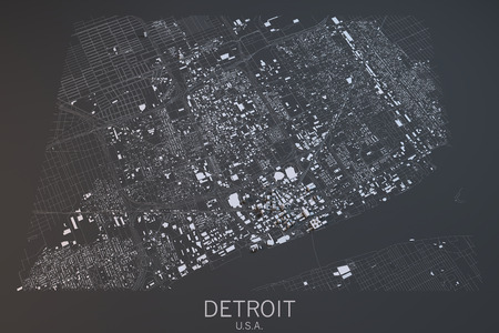 satellite view: Detroit map, satellite view, United States