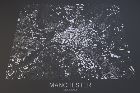 split road: Manchester map, satellite view, England, Great Britain