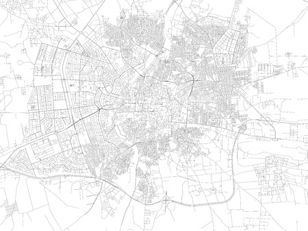plaza: Map of Aleppo, satellite view, streets and highways of the city, Syria Illustration