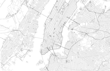 Map of New York City, satellite view, streets and highways of the USA city