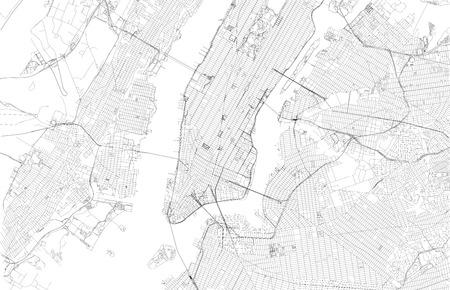 뉴욕시의 위성지도, 거리 및 고속도로의지도 일러스트