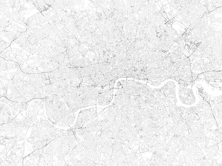 Map of London, satellite view, streets and highways, Great Britain