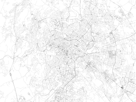 Rome map, satellite view, streets and highways of the city, Lazio, Italy