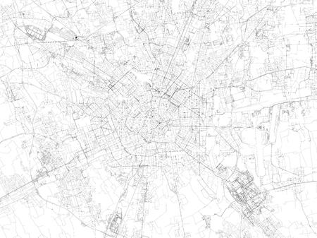 Milánó térkép, műholdas nézet, utcák és autópályák, Olaszország