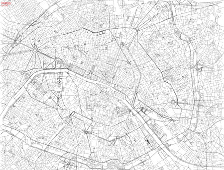 Map of Paris, satellite view, streets and highways, France